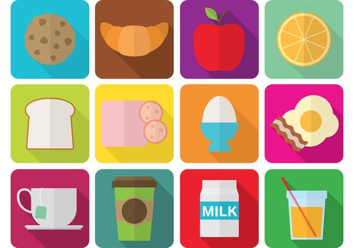 Flat frukost ikoner vektor