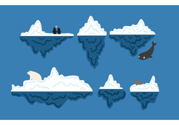 Gratis Iceberg Undervattens Vector Set