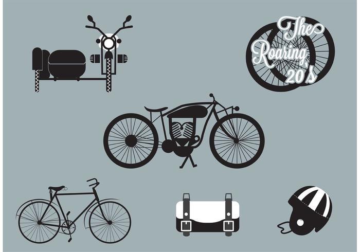 Brüllen 20s Motorrad und Fahrrad Set vektor