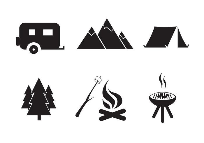 Vektor Gratis Camping Ikon Set