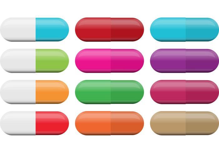 Färgrika och vita piller vektorer