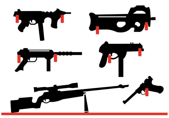Sammlung von Gewehre und Pistole Formen an der Wand hängen vektor