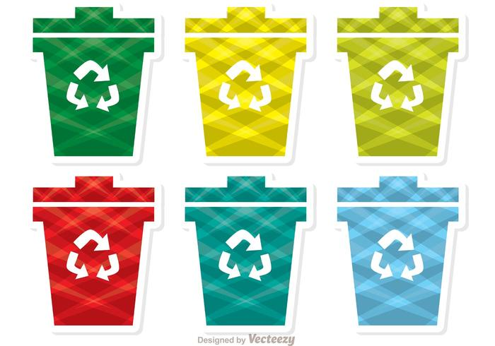 Bunte Patterned Garbage Icon Vector Pack