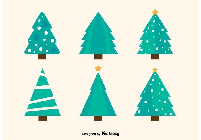 Flache Weihnachtsbäume Vektoren
