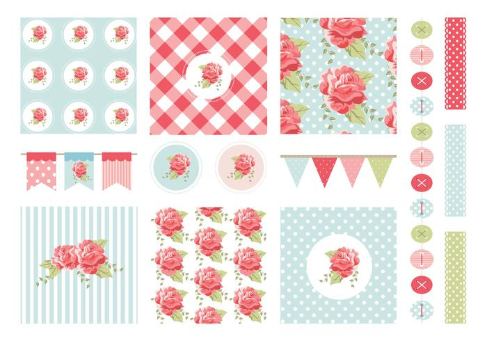 Gratis Shabby Chic Patterns And Garlands Vector