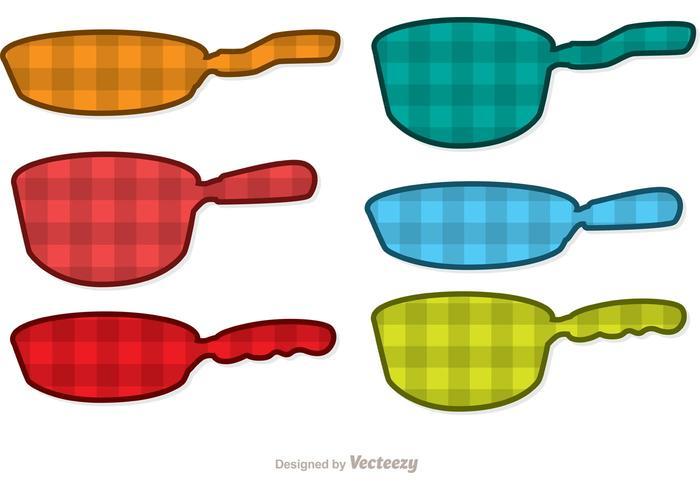 Plaid Pan med handtag vektorer