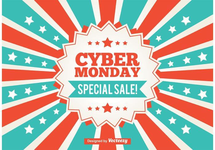 Cyber Monday Werbe-Sunburst Hintergrund vektor