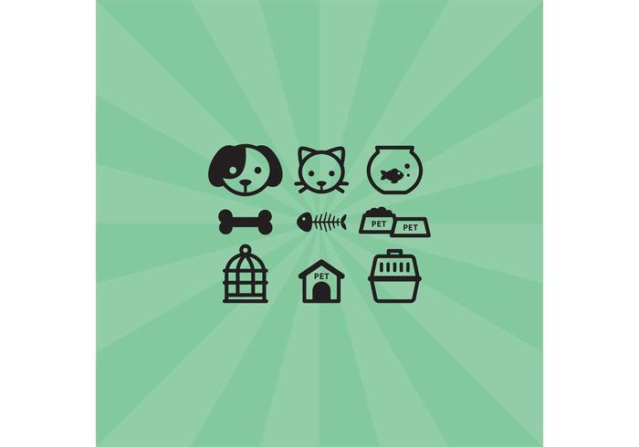 Pet ikoner vektor