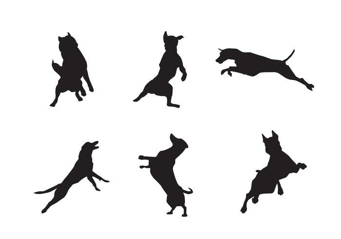 Gratis Hoppande Hund Siluettvektorer vektor