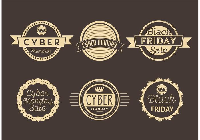 Cyber Monday und Black Friday Labels vektor