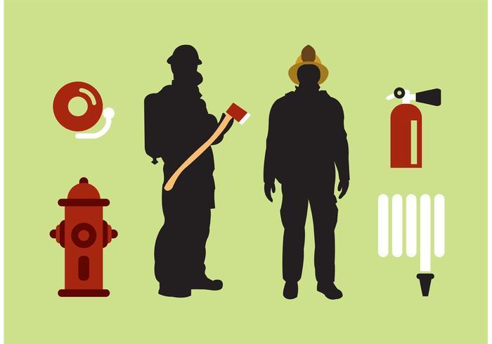 Isoliert Feuerwehrmann Vektor Set