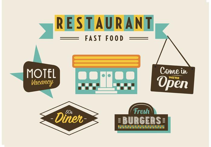50s Diner, Motell och snabbmat Pack vektor
