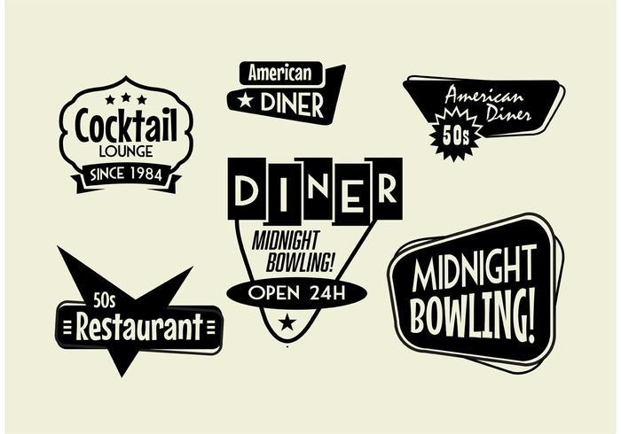 50s Diner, Bowling och Cocktail tecken Pack vektor