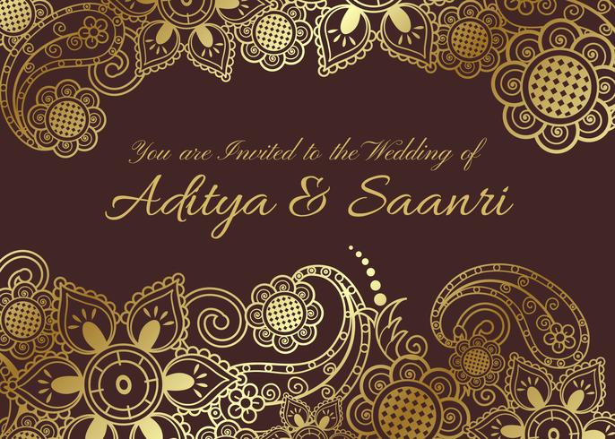 Free Vector Golden Indian Hochzeitskarte