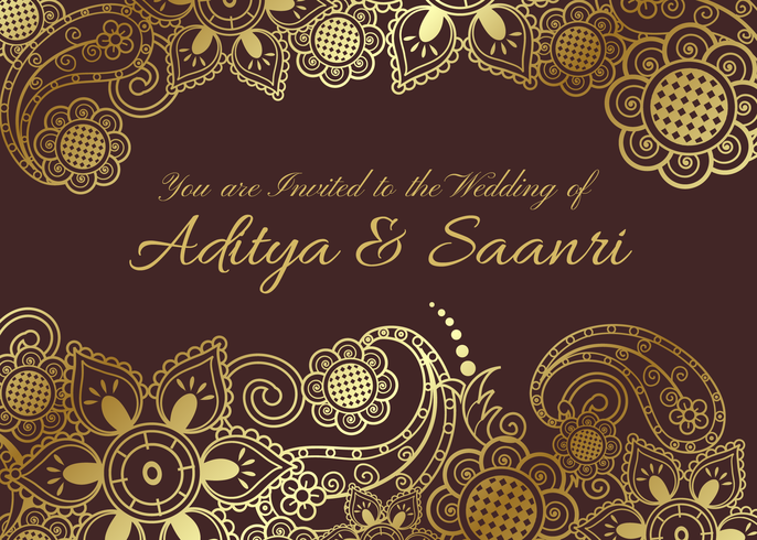 Gratis Vector Gyllene Indiska Bröllopskort