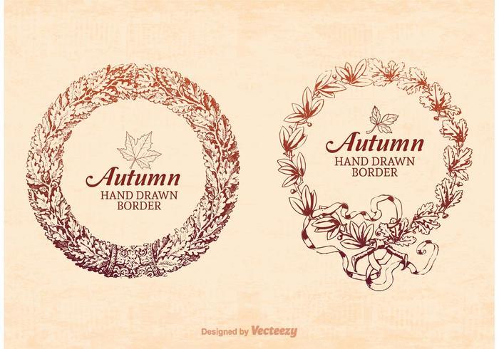 Freie Hand gezeichnet Herbst Rahmen Rahmen Vektor