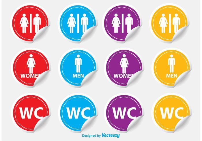 Toalettrum / WC-klistermärken vektor