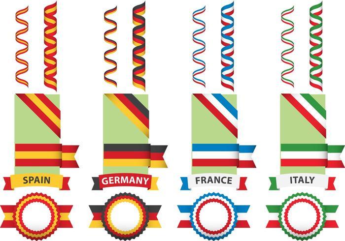 Europeiska flaggor och band vektor