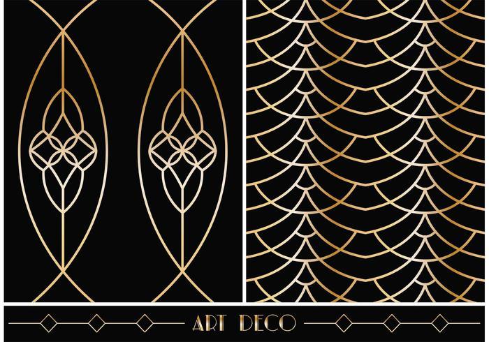 Gratis Art Deco Geometriska Vector Mönster