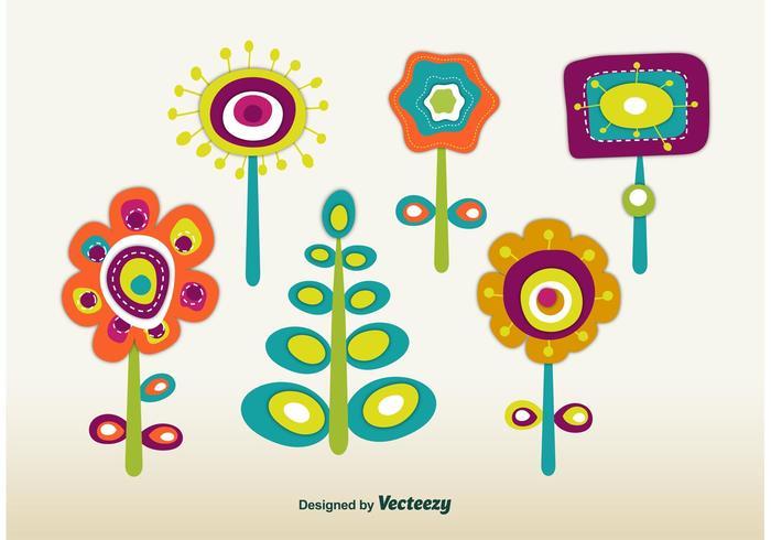 Retro Frühlingsblumen vektor