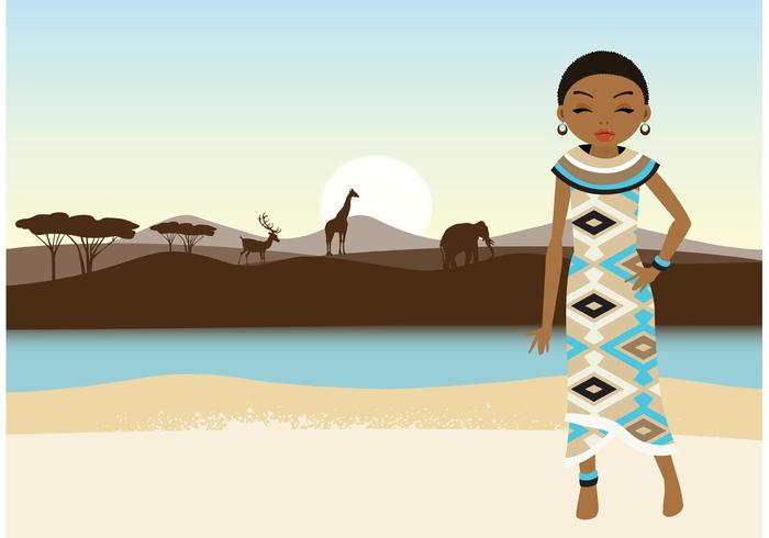 Gratis Vector African Girl And Landscape