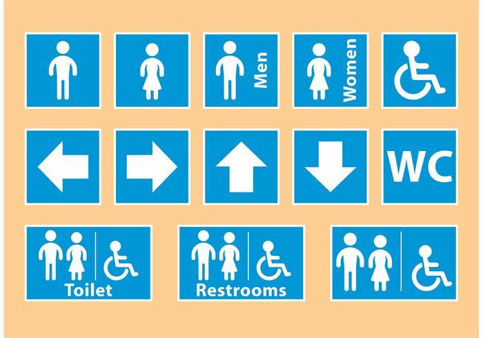 Blaue Restroom Signale vektor