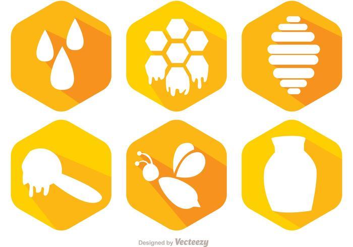 Biene Und Honig Icons Vektor