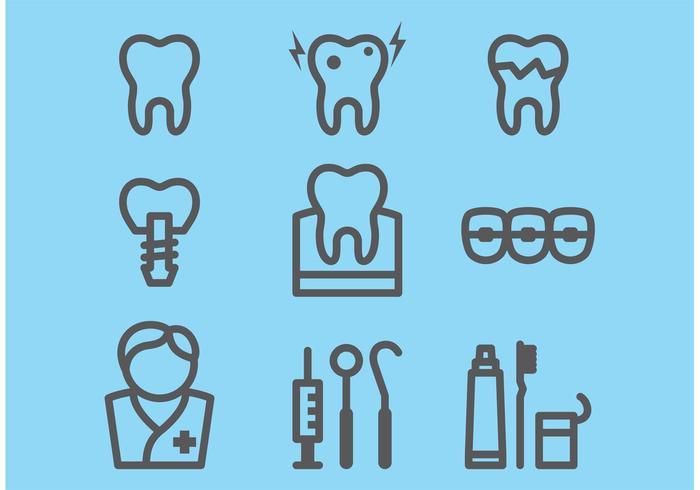 Zahnmedizinische Ikonen vektor