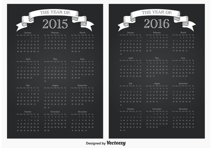 2105/2016 kalendrar vektor