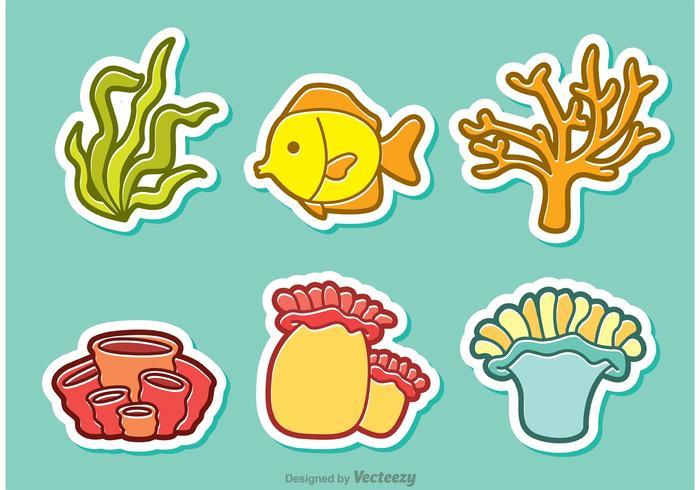 Tecknad Coral Coral Reef And Fish Vector
