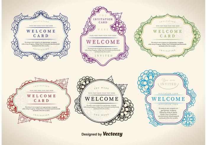 Floral Welcome Label Vektoren