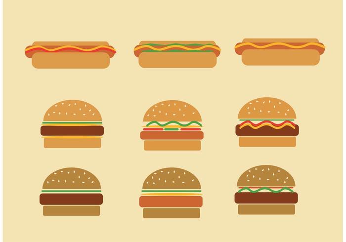 Fast Food Hamburger und Hot Dog Vektoren