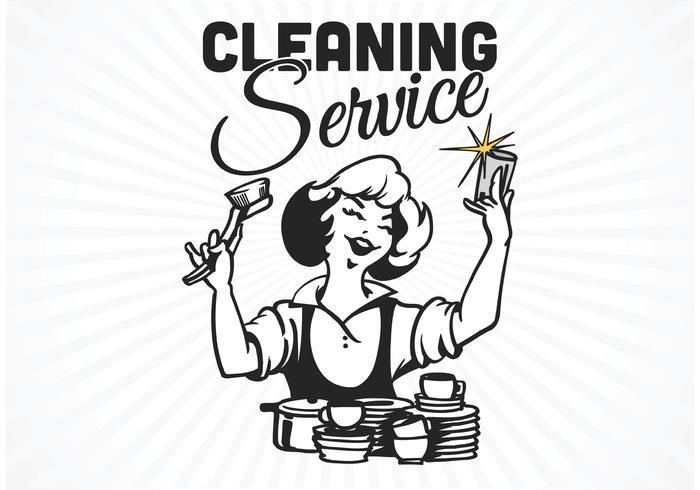 Free Retro Reinigung Service Poster Vektor
