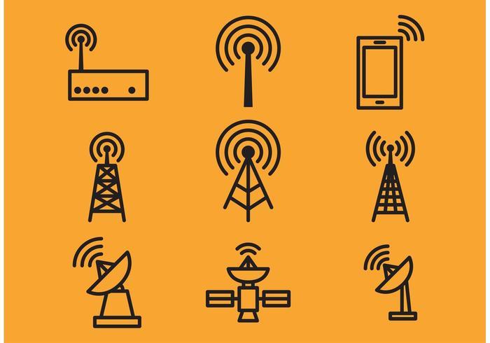 Antennen-Turm und Satelliten-Vektor-Icons vektor