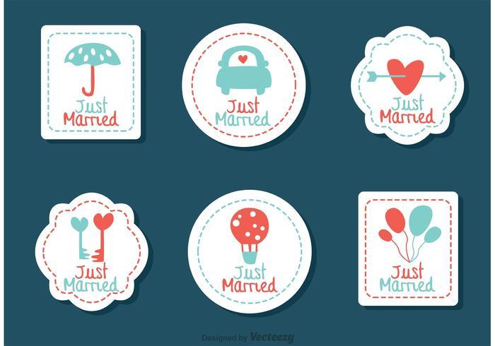 Genähte Gerade verheiratete Hochzeitsvektoren vektor