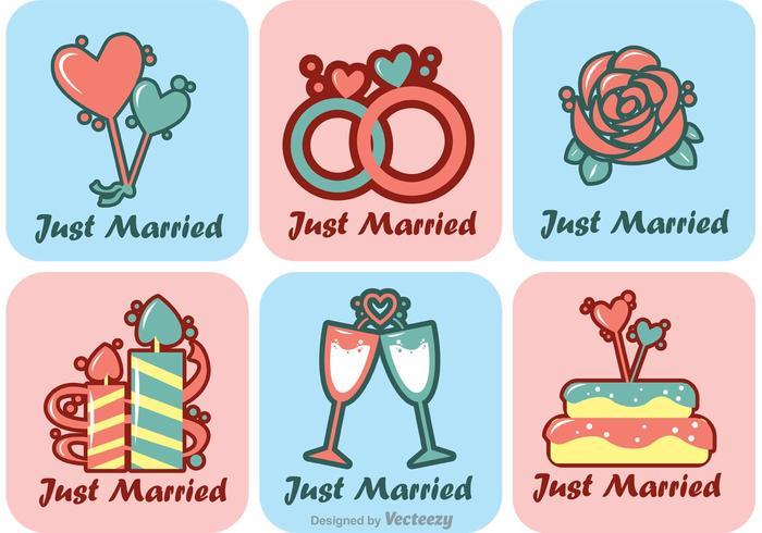Tecknad Just Married Vectors