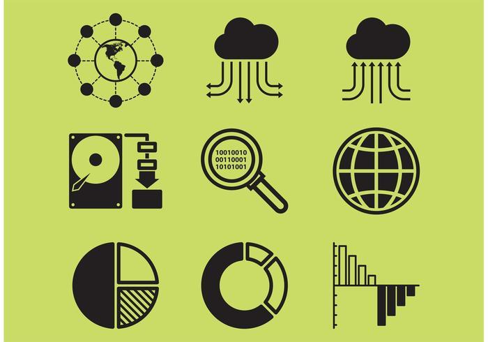 Große Daten-Icons vektor