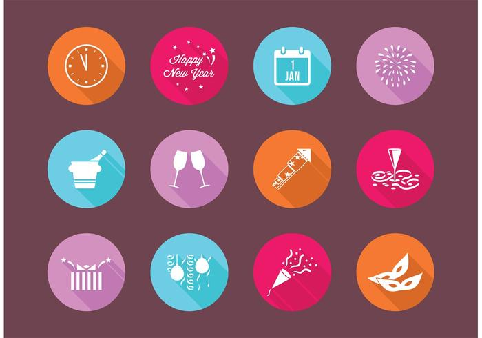 Gratis lägenhet nyårsafton ikoner vektor
