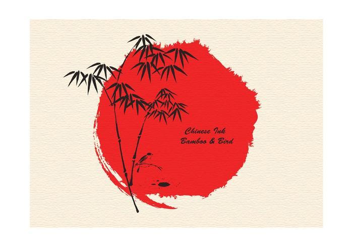 Free Vector Ink Drawn Bambus Und Vogel