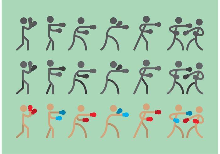 Boxer Sitck Figur Ikonvektorer vektor