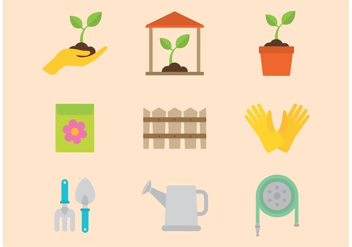 Trädgårdsvektor ikoner vektor