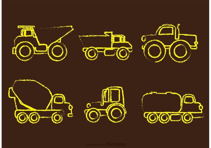 Kalkdrackade dumperbilar vektorer