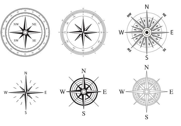 Vind- och nautisk kompassrosvektor vektor