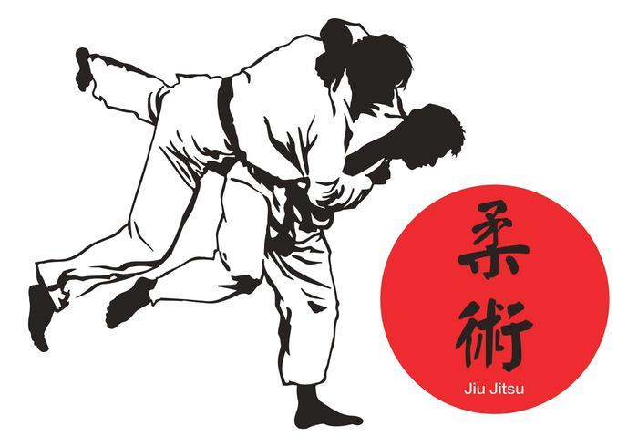 Kostenlose Jiu Jitsu Vektor Silhouette