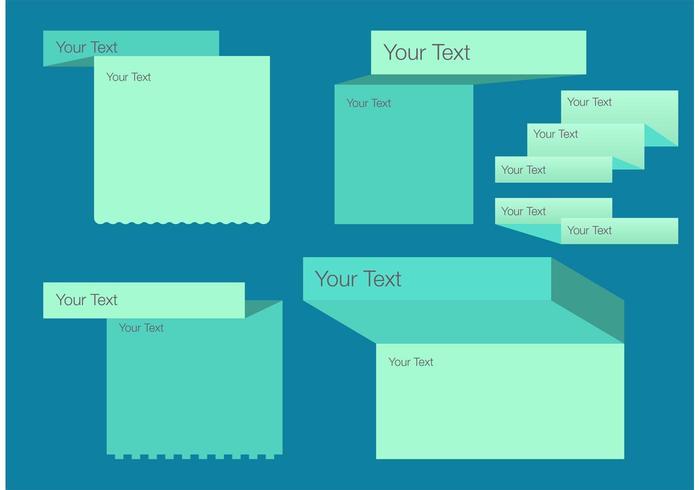 Gefaltete Textfeld-Vorlage Vektor-Set vektor