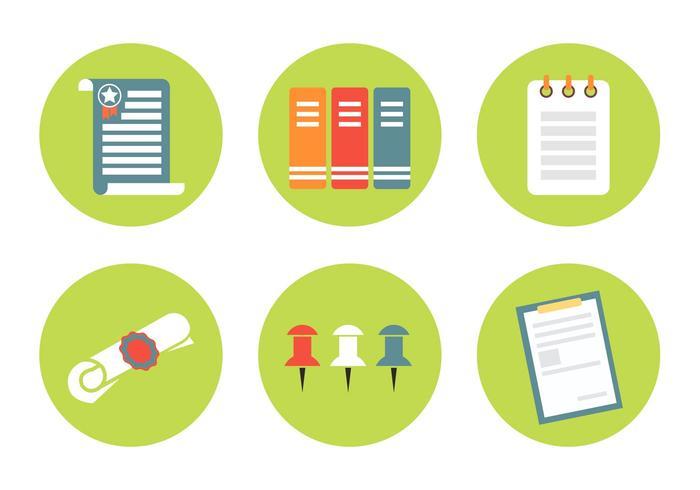 Vektor dokument ikonuppsättning