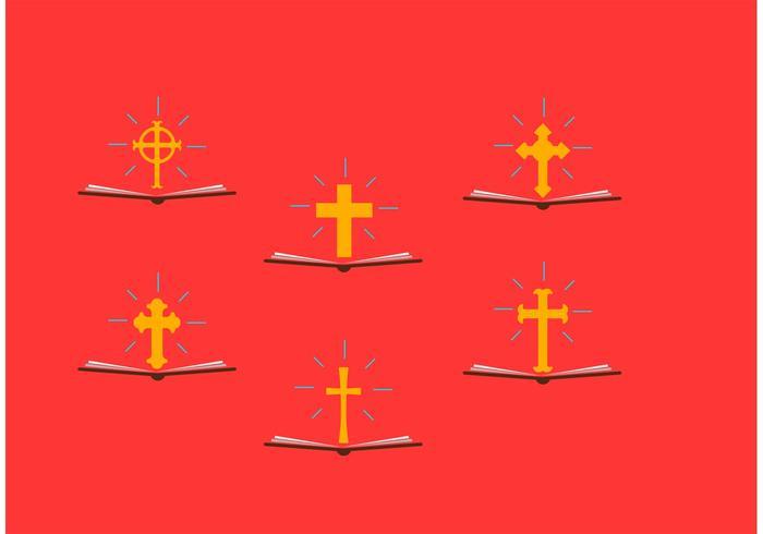 Öffnen Sie Bibeln mit Kruzifix-Vektoren vektor