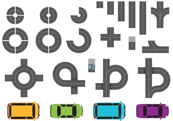 Straßenteile und Auto-Vektoren vektor