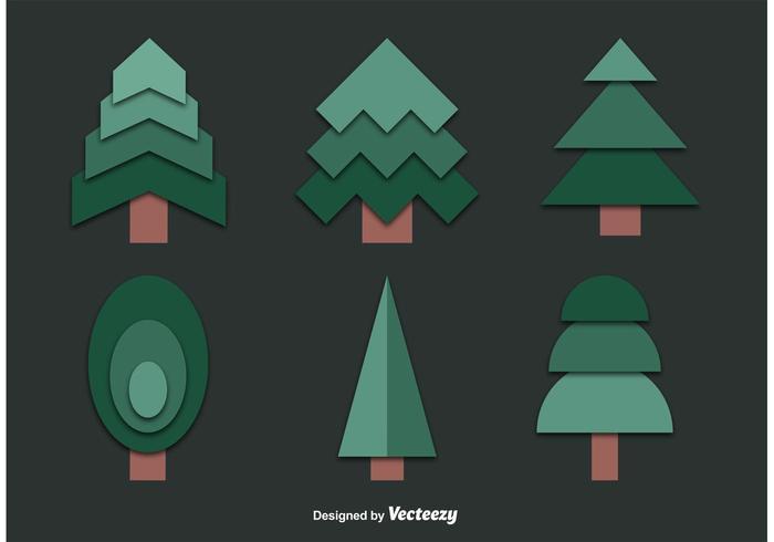 Set von ausgeschnittenen Baum Vektoren