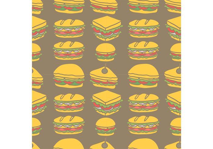 Free Club Sandwich Nahtlose Muster Vektor